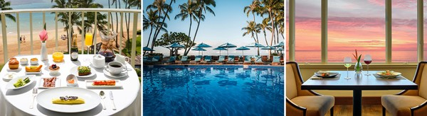 Breakfast overlooking the ocean from the lanai, poolside umbrellas and sunset dinner at Hoku's